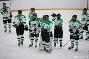The Markham Thunder celebrate their 3-1 win over the Boston Blades