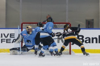 Boston Pride forward Jillian Dempsey (14) redirects a pass into the back of the goal to score a first period equalizer