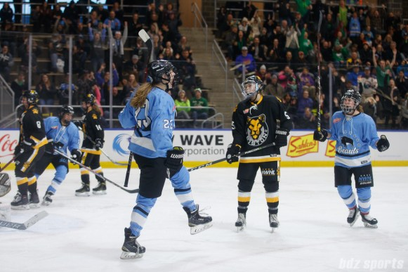 Buffalo Beauts forward Corinne Buie (23) reacts after scoring the equalizer