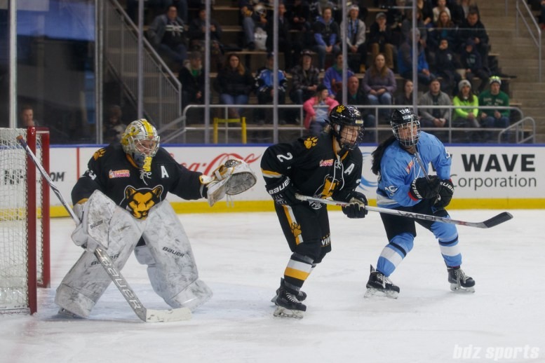 Boston Pride defender Alyssa Gagliardi (2) and Buffalo Beauts forward Kourtney Kunichika (36)