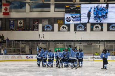 The Buffalo Beauts waves to the fans after defeating the Boston Pride in OT 3-2