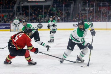 Markham Thunder forward Nicole Kosta (22) and Kunlun Red Star defender Melanie Jue (6)