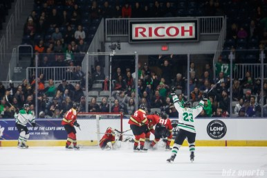 Markham Thunder defender Lindsay Grigg (23) reacts after forward Laura Stacey (7) finds the back of the net in OT to score the game-winning goal of the Clarkson Cup Final