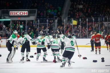 The Markham Thunder take to the ice after defeating the Kunlun Red Star 2-1 in OT in the 2018 Clarkson Cup Final