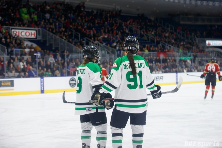 Markham Thunder defender Laura Fortino (8) and Markham Thunder forward Jenna McParland (91)