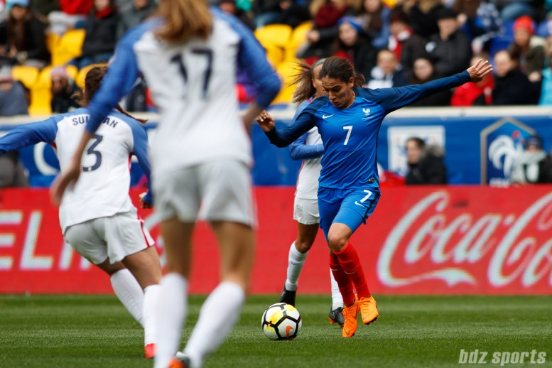 Team France defender Amel Majri (7) prepares to rip a shot from outside the 18-yard box