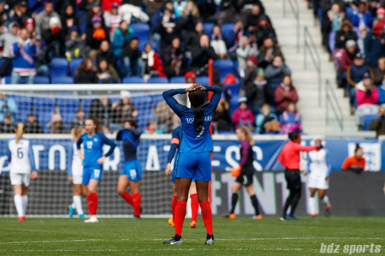 Team France defender Aissatou Tounkara (2) reacts after France misses a scoring opportunity