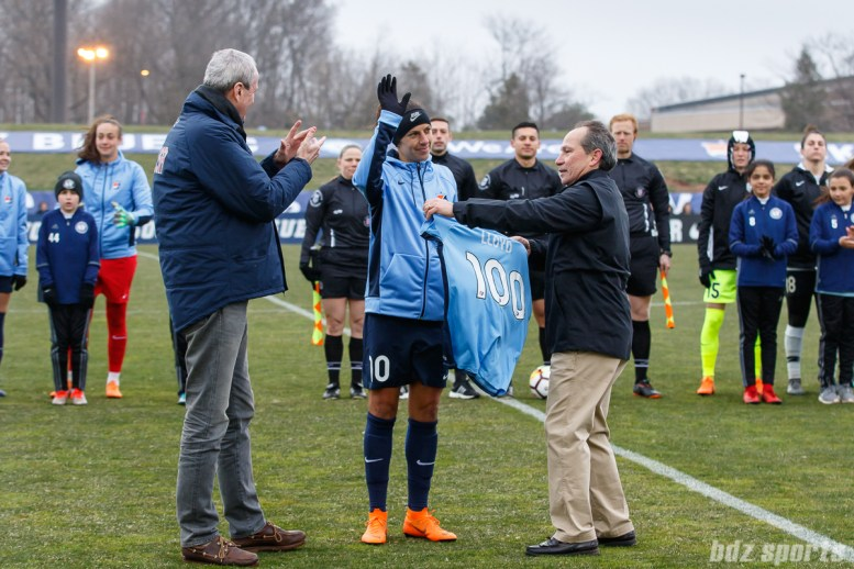 Sky Blue FC midfielder Carli Lloyd (10) is honored before the game with a jersey for scoring her 100th goal with the U.S. National Team