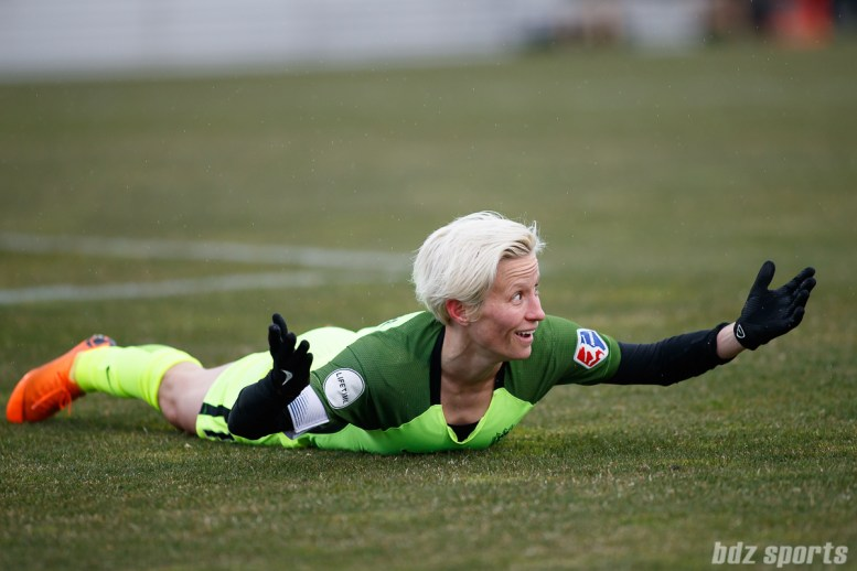 Seattle Reign FC forward Megan Rapinoe (15) looks for a call in the box