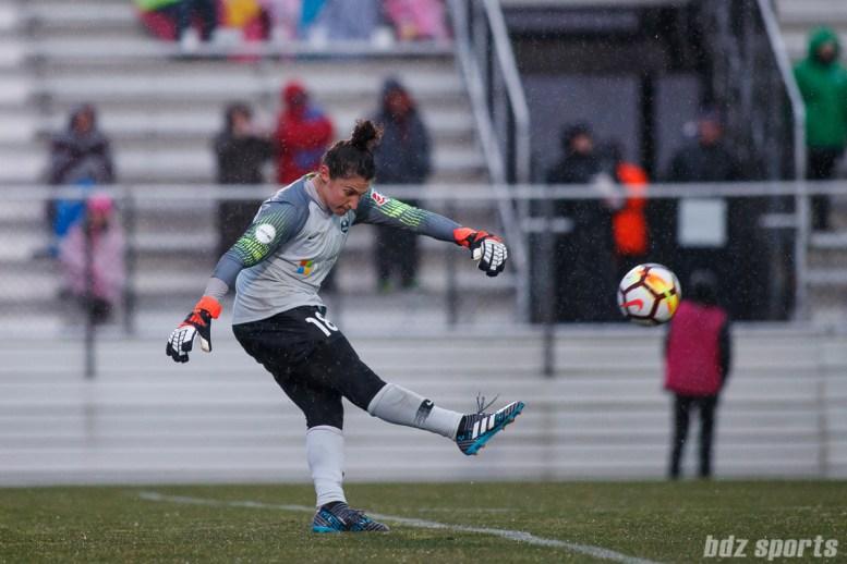 Seattle Reign FC goalie Michelle Betos (18)