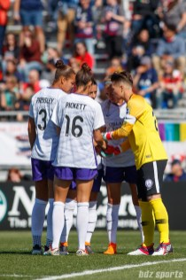 Orlando Pride goalkeeper Ashlyn Harris (24) huddles with her defenders prior to the start of their game against the Washington Spirit