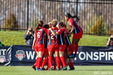 The Washington Spirit celebrat forward Mallory Pugh's (11) goal