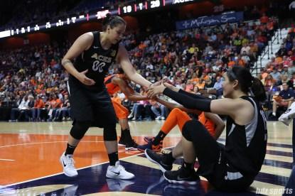 Las Vegas Aces guard Shoni Schimmel (00) and Las Vegas Aces center JiSuPark (19)