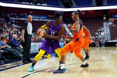 Los Angeles Sparks forward Essence Carson (17) Connecticut Sun forward Alyssa Thomas (25)