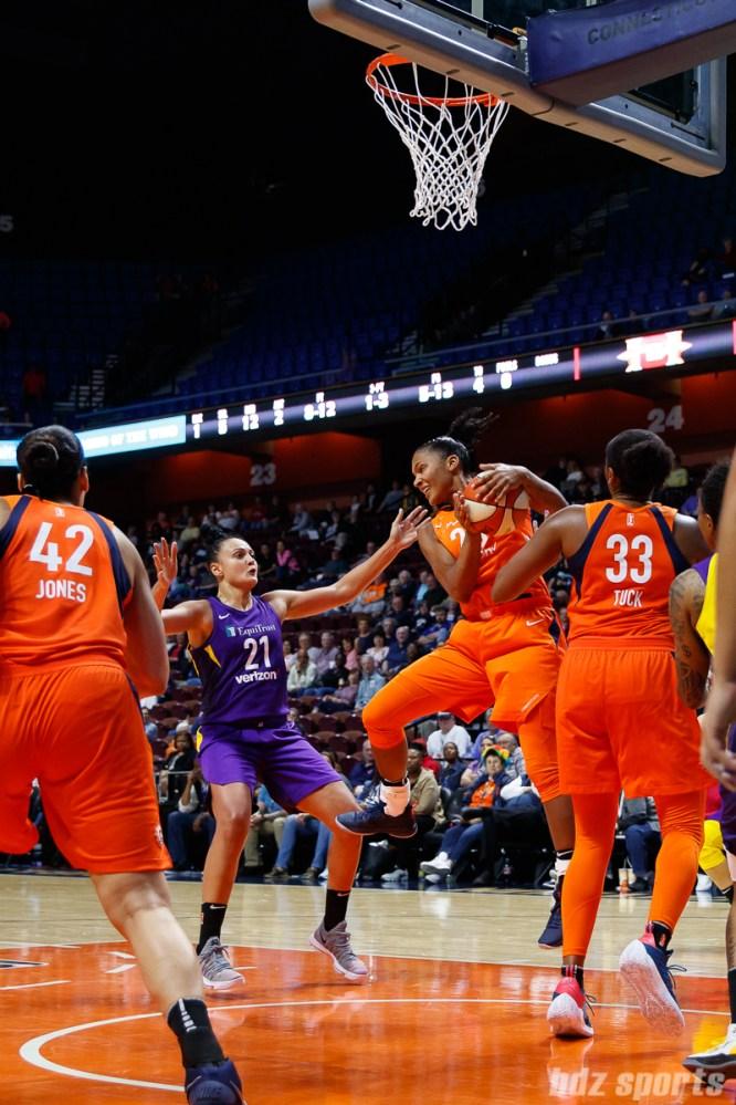 Connecticut Sun forward Alyssa Thomas (25) grabs the rebound