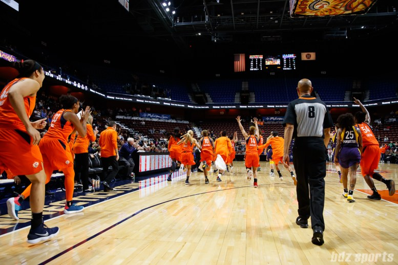 The Connecticut Sun defeat the Los Angeles Sparks 68-65 on a buzzer beater in their preseason game on May 7, 2018.