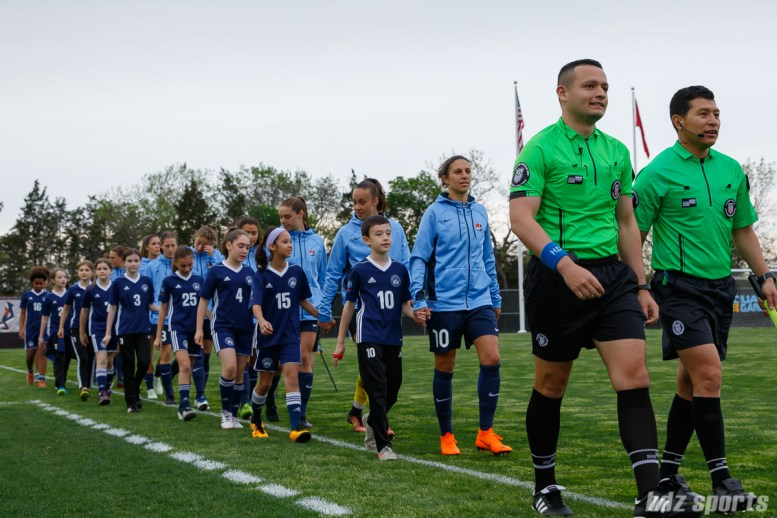 Sky Blue FC starting XI walking out on to the pitch