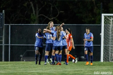 Sky Blue FC celebrates forward Katie Johnson's (14) second equalizer