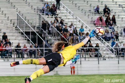 Sky Blue FC goalie Kailen Sheridan (1) lays out to push the ball away