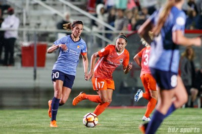Sky Blue FC midfielder Carli Lloyd (10) and Houston Dash midfielder Kyah Simon (17)
