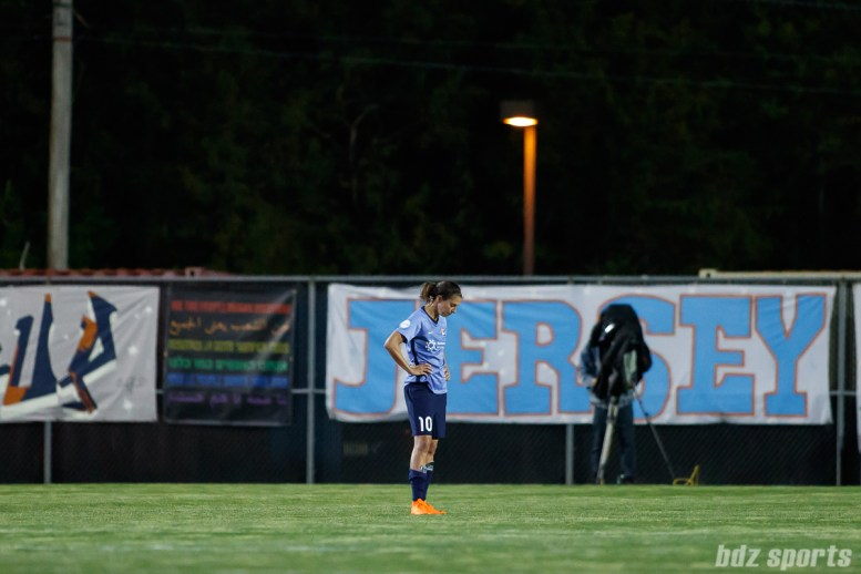 Sky Blue FC midfielder Carli Lloyd (10) reacts after the Houston Dash defeated Sky Blue 3-2