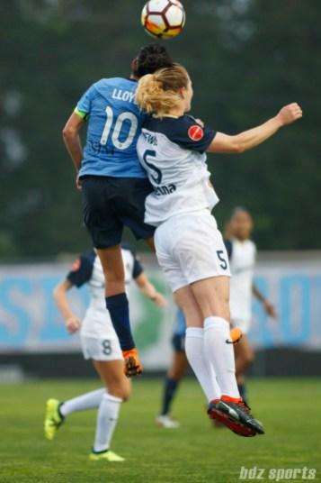 Sky Blue FC midfielder Carli Lloyd (10) and North Carolina Courage midfielder Samantha Mewis (5)