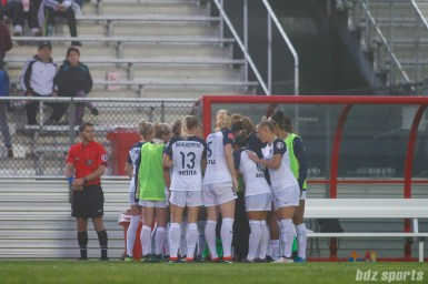 North Carolina Courage huddle before the start of the second half