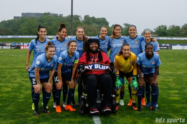 The Sky Blue FC starting XI with honorary captain former Rutgers football player Eric LeGrand
