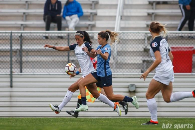 North Carolina Courage defender Abby Erceg (6) and Sky Blue FC forward Katie Johnson (14)