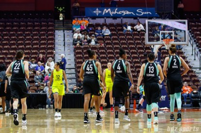 New York Liberty players Kelly Faris (22), Leslie Robinson (45), Shay Murphy (4), Shoni Schmmel (13) and Mercedes Russell (2)