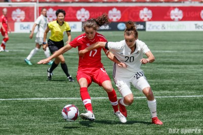 Team Canada midfielder Jessie Fleming (17) and Team Germany midfielder Lina Magull (20)