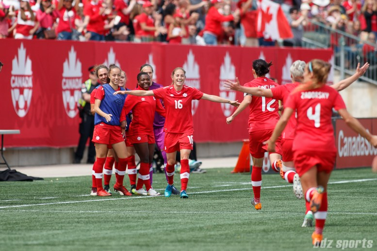 Team Canada forward Christine Sinclair (12) celebrates her goal with forward Janine Beckie (16) who provided the assist