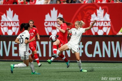 Team Canada defender Allysha Chapman (2) and Team Germany defender Kathrin Hendrich (3)