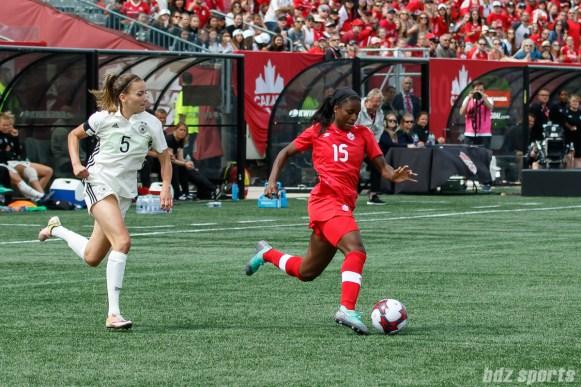 Team Canada forward Nichelle Prince (15)