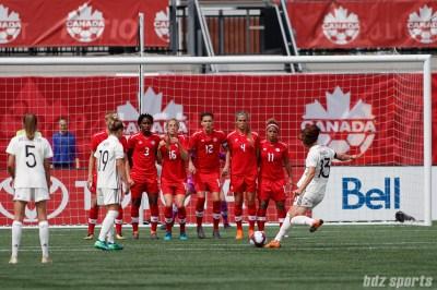Team Germany midfielder Sara Dabritz (13) takes a free kick
