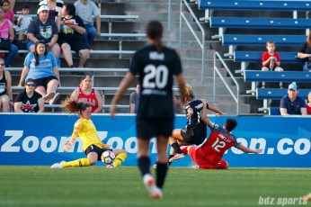 Chicago Red Stars goalie Alyssa Naeher (1) comes up with the save