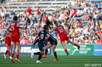 Chicago Red Stars defender Arin Gilliland (3) and Portland Thorns midfielder Lindsey Horan (10)