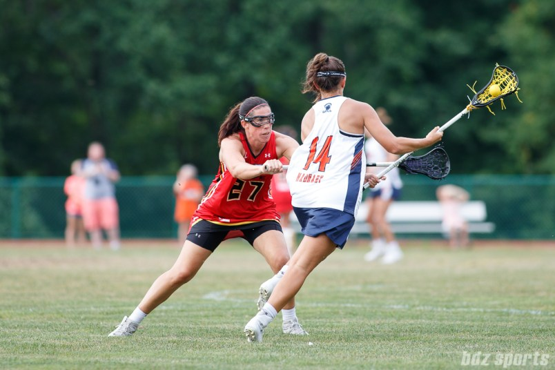 Baltimore Brave attacker Dana Dobbie (27) and Upstate Pride defender Nadine Hadnagy (14)