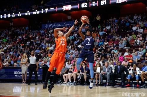 Atlanta Dream forward Brittney Sykes (7) and Connecticut Sun guard Layshia Clarendon (23)