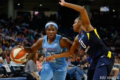 Chicago Sky guard Linnae Harper (23) and Indiana Fever guard Kelsey Mitchell (0)