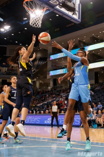 Chicago Sky guard Diamond DeShields (1) and Indiana Fever forward Natalie Achonwa (11)