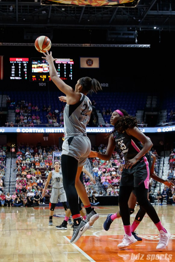 Las Vegas Aces center A'ja Wilson (22)