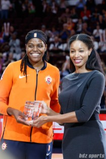 Connecticut Sun center Jonquel Jones (35) is awarded the 2018 WNBA Sixth Woman of the Year