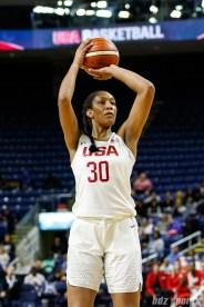 Team USA forward A'ja Wilson (30)