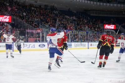 Montreal Les Canadiennes forward Ann-Sophie Bettez (24) celebrates her second period goal