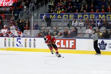 Calgary Inferno forward Rebecca Johnston (6) breaks away to score an open net goal