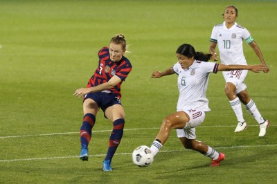 USWNT midfielder Samantha Mewis (3) shoots and goes on to score the first goal in the first of two 2021 WNT Send-Off Series games between the USWNT and Mexico at Rentschler Field in East Hartford, CT on July 1, 2021.