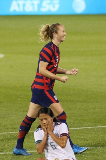 USWNT midfielder Samantha Mewis (3) celebrating her goal in the first of two 2021 WNT Send-Off Series games between the USWNT and Mexico at Rentschler Field in East Hartford, CT on July 1, 2021.