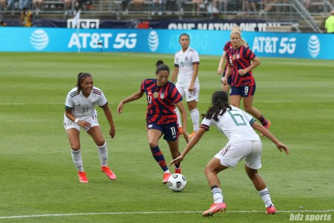 USWNT forward Christen Press (11) possesses the ball in the second of two 2021 WNT Send-Off Series games between the USWNT and Mexico at Rentschler Field in East Hartford, CT on July 5, 2021.