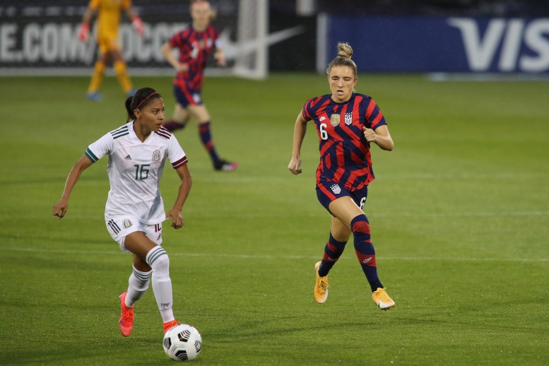 USWNT midfielder Kristie Mewis (6) chases down Team Mexico midfielder Nancy Antonio (16) in the first of two 2021 WNT Send-Off Series games between the USWNT and Mexico at Rentschler Field in East Hartford, CT on July 1, 2021.